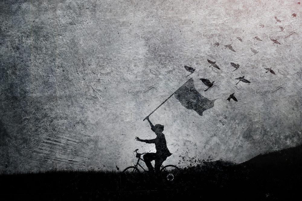 Freedom and Peaceful concept, Carve or Silhouette of human on bicycle raise arms with flag and birds on Cement wall